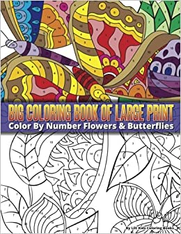 Amazon Color By Number Large Print Butterflies Flowers Big Coloring Book Premium Adult Books Volume 16 9781978379855 Lilt Kids