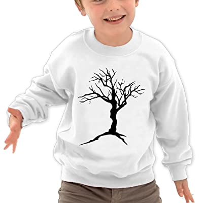 Anutknow Black Dead Tree Silhouette Children's Round Neck Soft Hoodies Sweatshirt
