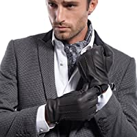 MATSU Men Winter Warm Deerskin Leather 100% Cashmere Lined Gloves M1066