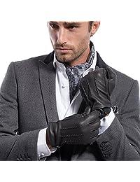 MATSU Men Winter Warm Deerskin Leather 100% Cashmere Lined Gloves M1066 (M, Black-Non TouchScreen)