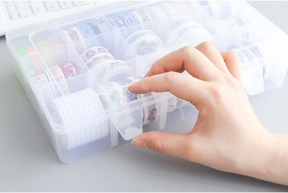 divisori per armadio con 15 scomparti regolabili Confezione da 2 scatole di nastro Washi nastro adesivo fai da te nastro adesivo da scrivania trasparenti
