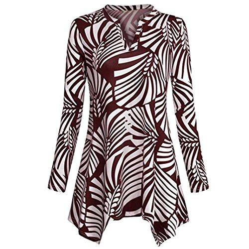 Price comparison product image Malbaba Women Blouse,  Long Sleeve Printed O Neck Falbala Hem Tunic Top (2XL,  Leaf Wine)