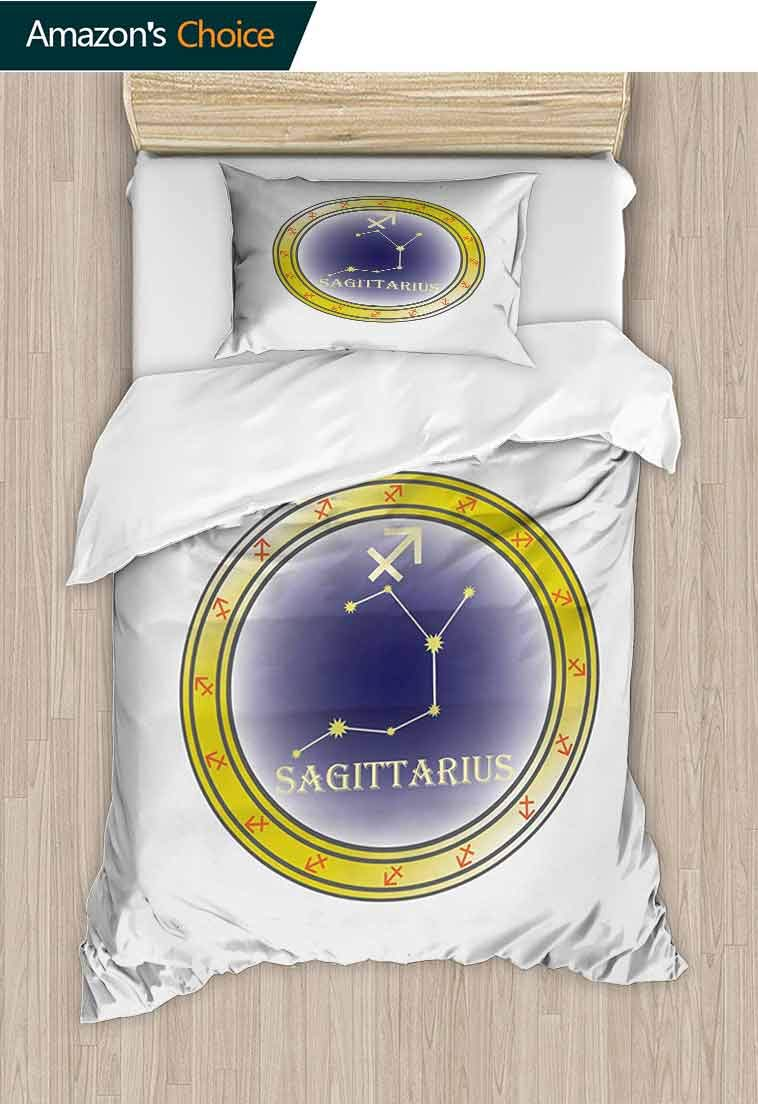 Zodiac Sagittarius Printed Quilt Cover and Pillowcase Set, Constellation Pattern with Stars Zodiac Horoscope Themed Illustration, Decorative 2 Piece Bedding Set with 1 Pillow Sham, 39 W x 51 L Inches by carmaxshome