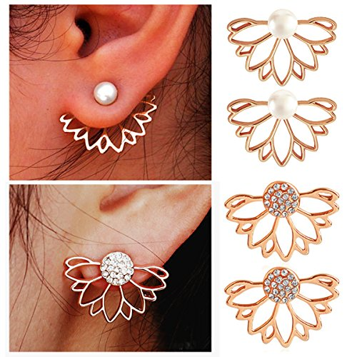 Suyi Fashion Hollow Lotus Flower Earrings Pearl Rhinestone Simple Chic Stud Earrings Set - Ring Earring Fashion
