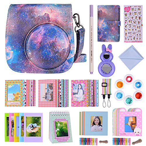 Bsuuy Instax Mini 9 Camera Accessories Bundles Compatible with FujiFilm Instax Mini 9 Mini 8 Mini 8+ Camera with Mini 9 Case, Six Color Filters,Rainbow Shoulder Strap etc.(Meteor 16 Items)