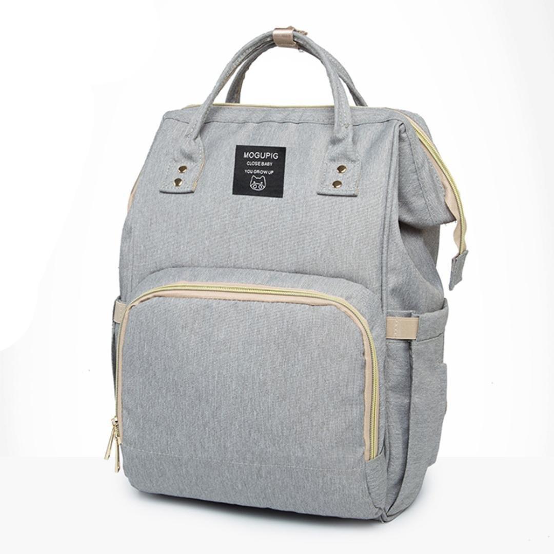 Mummy Bag, Hunzed Nappy Bag Large Capacity Baby Bag Travel Backpack Handbag Shoulder Bag Ladies Desiger Nursing Crossbody Bag (Gray) by Hunzed (Image #1)