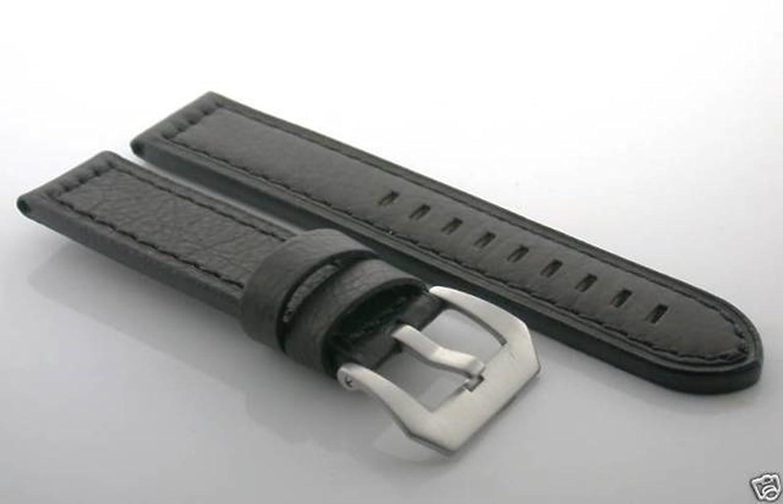 24 mmバッファローレザーストラップBand for BREITLINGブラックChronomat # 10  B07D6PF913