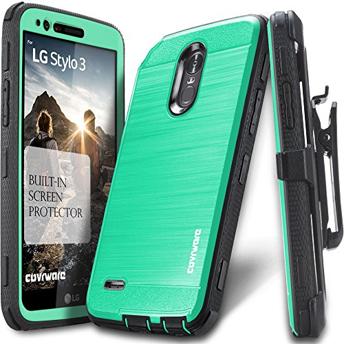 LG Stylo 3 / Stylo 3 Plus Case, COVRWARE [Iron Tank] Built-in [Screen Protector] Heavy Duty Full-Body Rugged Holster Armor [Brushed Metal Texture] Case [Belt Clip][Kickstand] for LS777, Teal (Lg Screen Phone Zte)