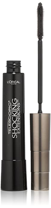 0ed1771474e L'Oreal Paris Telescopic Shocking Extensions Mascara, Carbon Black, 0.29  Ounces