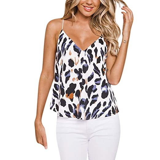 11410146dd QIQIU 2019 Newest Women Casual Leopard Print Vest Sleeveless Halter Tank  Tops Blouse Summer T-
