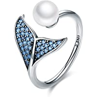 Silver Adjustable Rings for Women,925 Sterling Silver Blue Dolphin Tail CZ Pearl Open Finger Ring Jewellery Gift