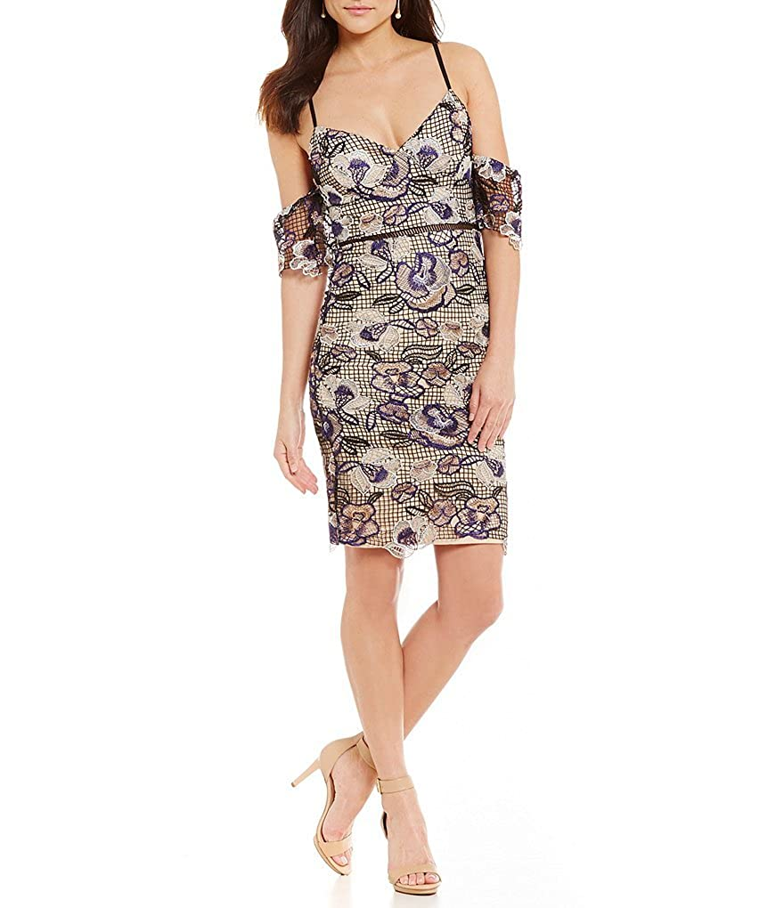 95d010110b5 Gianni Bini Inga Two Tone Cold-Shoulder Lace Sheath Dress Size XS at Amazon  Women s Clothing store