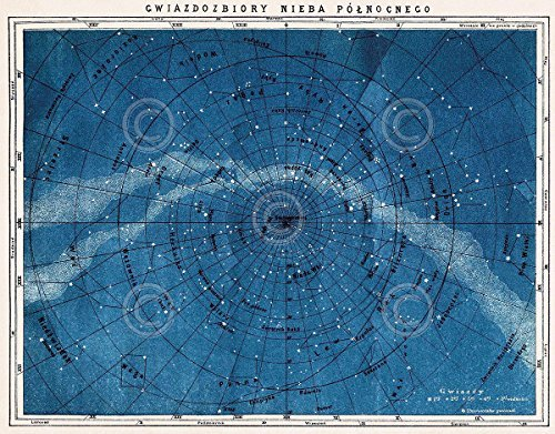 Laminated Astronomy Map Northern Constellations Vintage Reproduction Print Poster