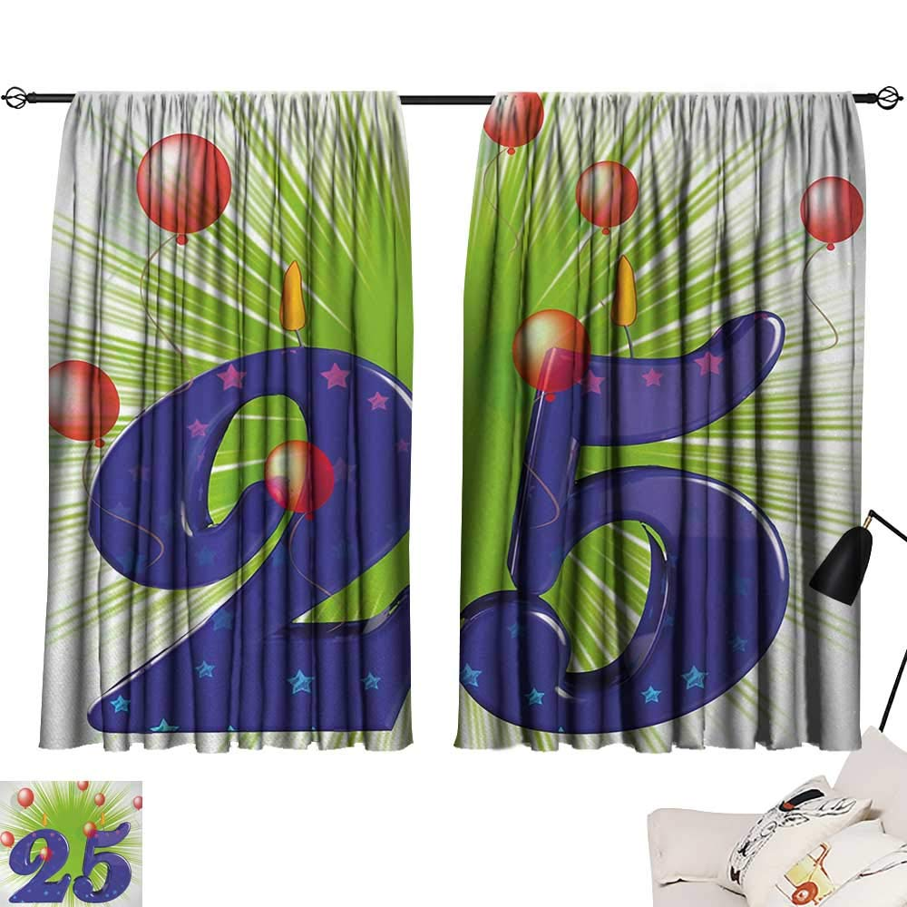 Jinguizi 25th Birthday Bedroom/Living Funky Vibrant Twenty Five with Stars Candle Balloons Art Print Insulating Darkening Curtains Purple Green Dark Coral W55 x L39 by Jinguizi (Image #1)