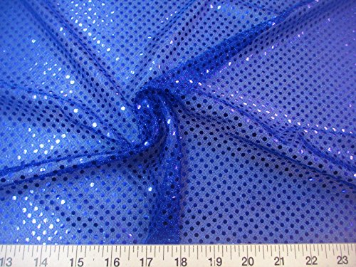 Paylessfabric Fabric Stretch Glitter Mesh Sequin Dots Royal Blue Sheer Sparkle ()
