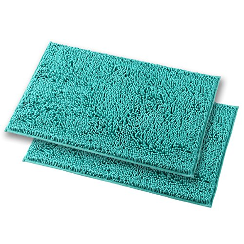 Mayshine Bath mats for Bathroom Rugs Non Slip Machine Washable Soft Microfiber 2 Pack (20×32 inches, Turquoise) by MAYSHINE