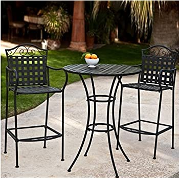 This Item 3 Piece Outdoor Bistro Set Bar Height  Black. This Traditional Patio  Furniture Is Stylish And Comfortable. Bistro Sets Compliment Your Patio, ...