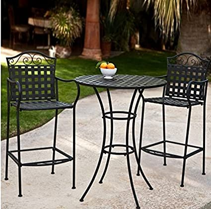 3 Piece Outdoor Bistro Set Bar Height -Black. This Traditional Patio  Furniture is Stylish - Amazon.com: 3 Piece Outdoor Bistro Set Bar Height -Black. This