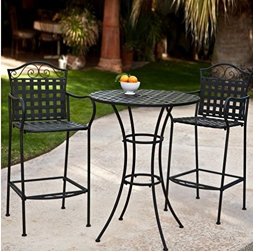 3 Piece Outdoor Bistro Set Bar Height -Black. This Traditional Patio Furniture is Stylish and Comfortable. Bistro Sets Compliment Your Patio, Deck Or Pool Area Perfectly. Patio Furniture Sets Of This Quality Last For Years. (Set Bar Bistro)