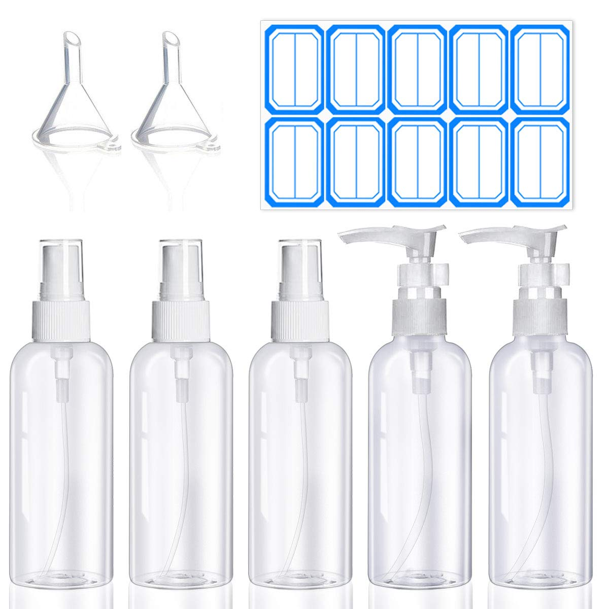 Plastic Spray Bottle Set - 5 Pack 50ML Travel Mini Spray Bottles and Pump Bottle Portable Refillable Containers Leak Proof Travel Bottles for Liquid Soap