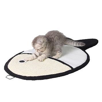 QINYL Resistente A La Mordida Pequeña Placa De Arañazo En Forma De Pez Gato Sisal, Funny Cat Claw Protector Cojín De Sofá De Juguete,Black: Amazon.es: Hogar