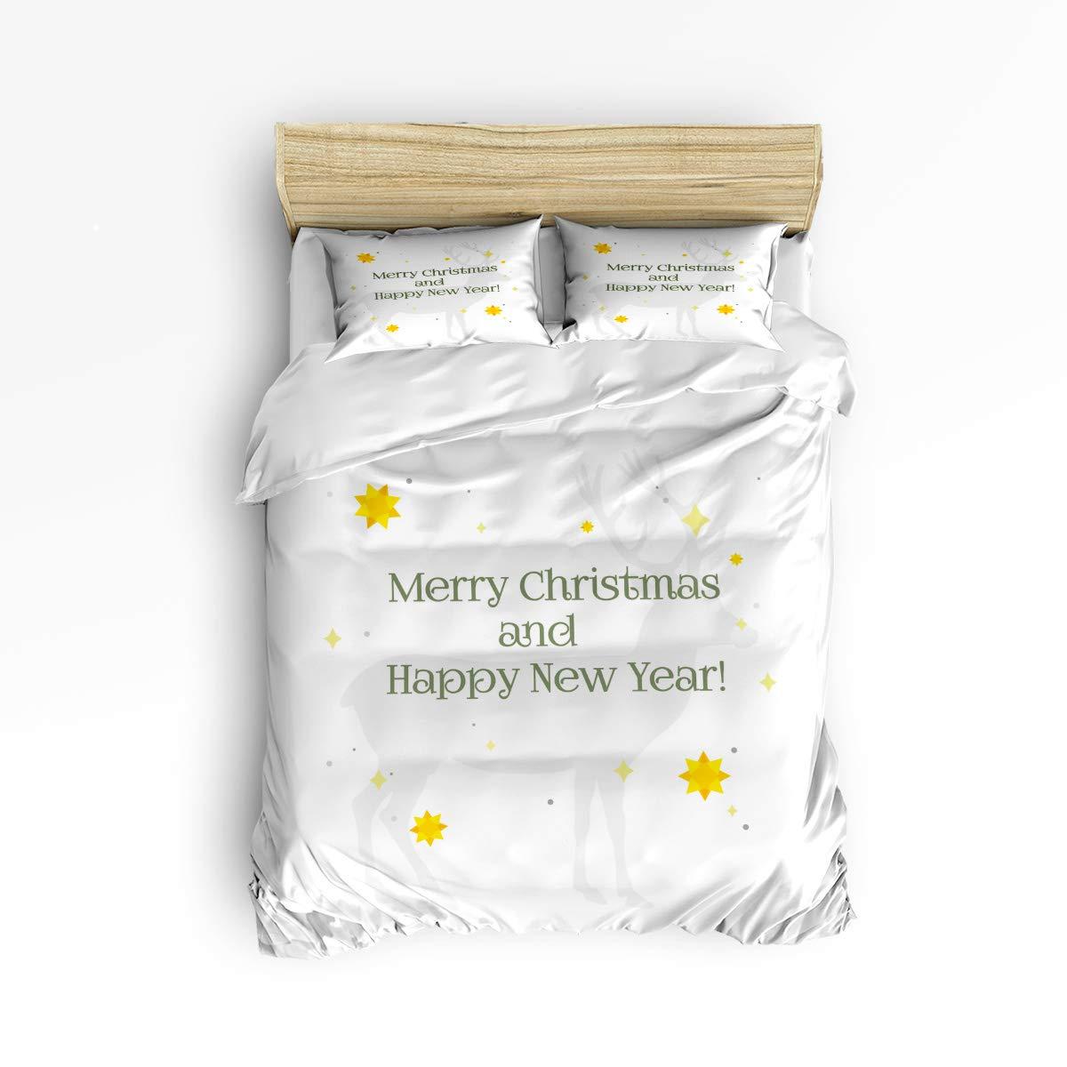 YEHO アートギャラリー ラブリー ベッドシーツセット 布団カバーセット 子供 大人用 手塗り シカ 鹿 動物 パターン ソフト 快適 寝具セット バスルーム ホームデコレーション King Size 2018126WHLYAGSJTSJTSLSZ00030SJTDYAG B07L5TC5V9 Merry Christmas27yag7655 King Size