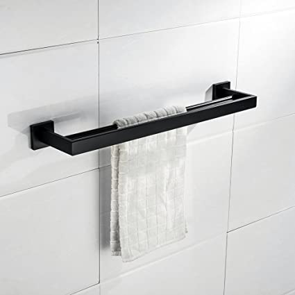 Turs Q7Series-P - Toallero de pared (acero inoxidable, acabado pulido, 50,8 cm), acero inoxidable, negro, Double Towel Bar