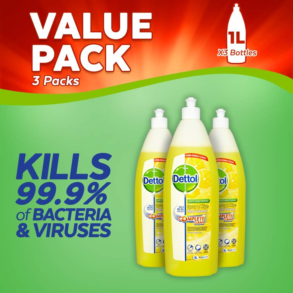 Dettol Spray and Wipe Floor Cleaner, Citrus, 1 Litre, Pack of 3 Reckitt Benckiser 225961