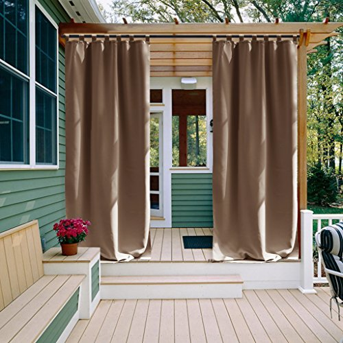 Cheap  NICETOWN Outdoor Curtain Panel for Patio Tab Top Thermal Insulated Blackout Outdoor..