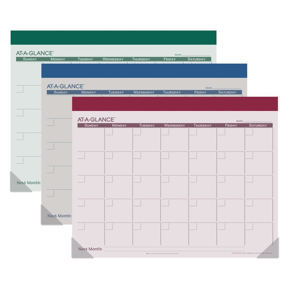 At-a-glance Recycled Fashion Monthly Desk Pad, Undated, 22 X 17 Inches, 2-7/8 X 2-1/2 Inch Block Size (sk22510)