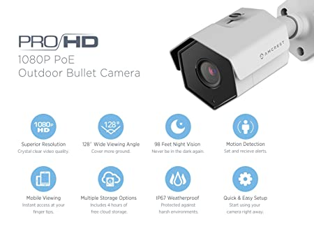 3-Pack Amcrest ProHD Outdoor 1080P POE Bullet IP Security Camera – IP67 Weatherproof, 1080P 1920 TVL , IP2M-852E White