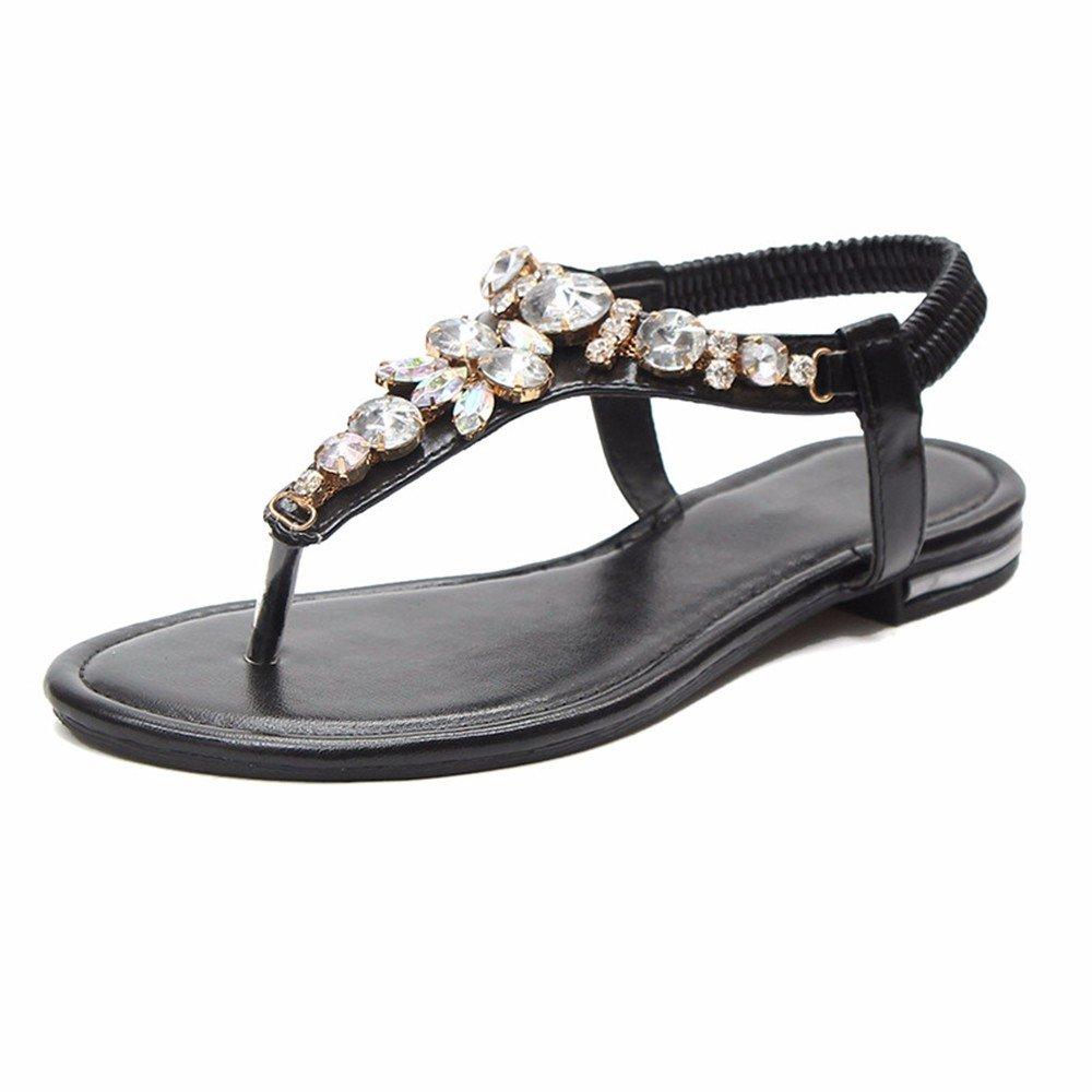 YMFIE Señoras verano nuevo taladro de pie pin moda casual sandalias planas verano mar playa antideslizante SHOES.39 UE,negro 39 EU