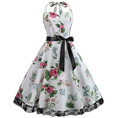7379bd751a Belie Women Dresses Sexy Floral Print Vintage Sleeveless Halter Bandage  Slim Dress White M