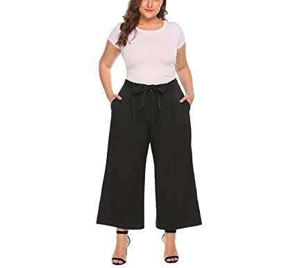 1bf46aa7793a Chiffoned Large Size Women Wide Leg Pant XL-4XL Casual Oversize Trousers  High Waist Belted