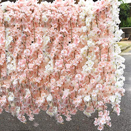 Lmeison Artificial Cherry Blossom, Fake Cherry Blossom Flowers White Hanging Vine Silk Garland Wreath for Wedding Arch Decor Wedding Party Decor, 3 Pack ()