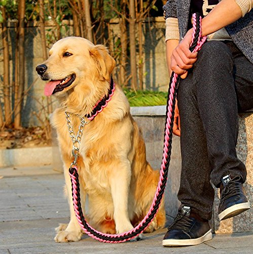 Braided Retrievers (FinerMe Big Dog Leash/dog Chain/traction Rope Adjustable Loop Slip Pet Dog Leashes Rope Snap Training Lead Medium/large/x-large (L(leash diameter 0.79 inch), Pink+Black))