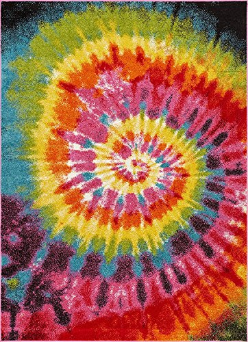 Tie Dye Retro Rainbow Trippy Multi Hippie Red Orange Yellow Green Modern Painting 8x10 ( 7'10
