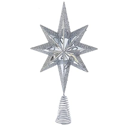 Amazon.com: Christmas Star Mini Tree Topper Star Burst 6.75 inch ...