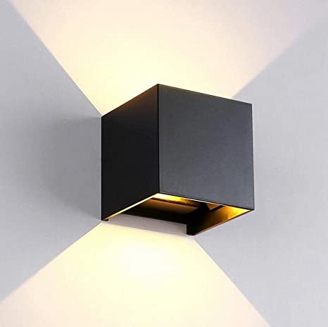 LED Wall Sconce Waterproof Cube Wall Lamp LED Light Dimmable Wall Lamp  Modern Lamps Living Room Aisle Wall Lamp Bedroom Bedside Lamp ( Color :  Black ) ...