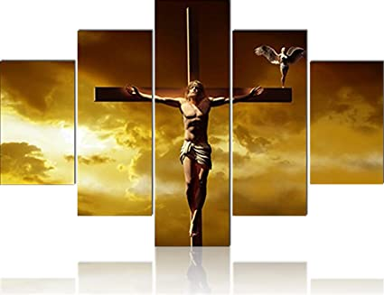 Extra Large 5 Piece Canvas Wall Art Jesus Crucifixion On Crosses HD Prints Painting Christian Religious