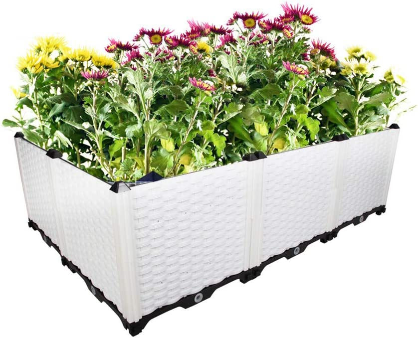 Hershii Gardening Raised Bed Kits DIY Rectangular Plant Growing Container Plastic Vegetables Herbs Flowers Large Deepened Planter Box for Balcony, Patio, Yard - White - 46.06 X 30.7' X 14.96 Inches