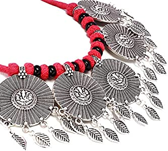 IndoTribe Tribal Necklace Choker Indian Jewelry for Women Handpainted Blue Indian Necklace for Women Tribal Jewelry Tribal Choker Oxidized Indian Jewelry for Girls Indian Choker Necklace for Women