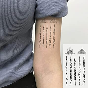 Oottati 2 Hojas Pequeño Lindo Tatuaje Temporal Tattoo Sánscrito ...