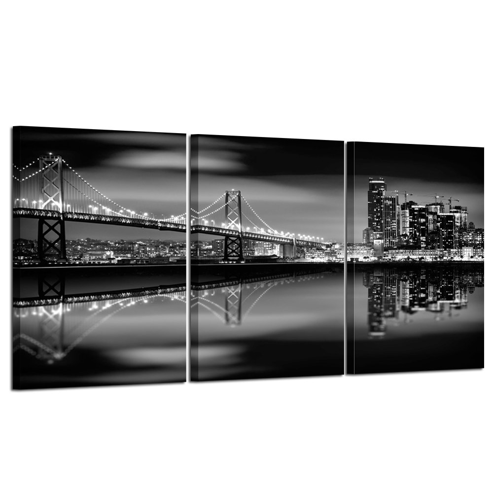 Kreative Arts - San Francisco Bay at Night in Black and White Bridge 3 Panels Modern Landscape Artwork Canvas Prints Cityscape Pictures Paintings on Canvas Wall Art for Home Decor (16x24inchx3pcs)