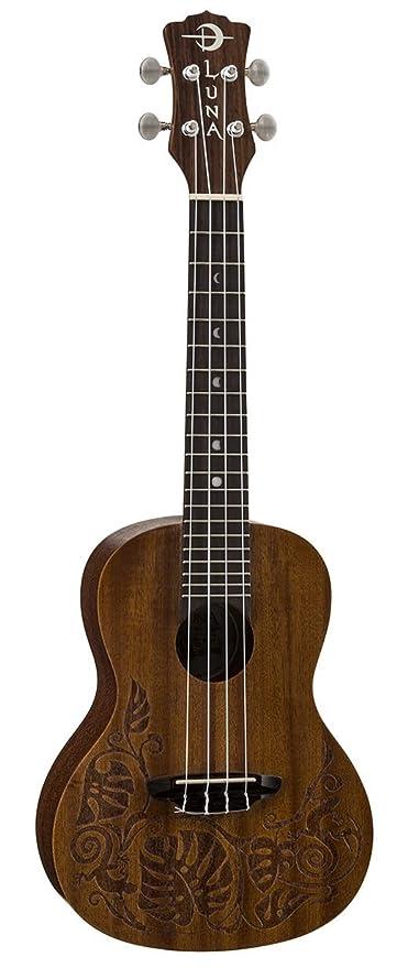 Luna MO - Ukelele de concierto (madera de caoba), diseño de salamanquesa: Amazon.es: Instrumentos musicales