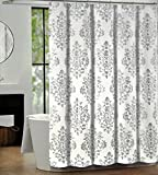 Tahari Luxury Cotton Blend Shower Curtain Silver White Damask Medallion,  Bentley