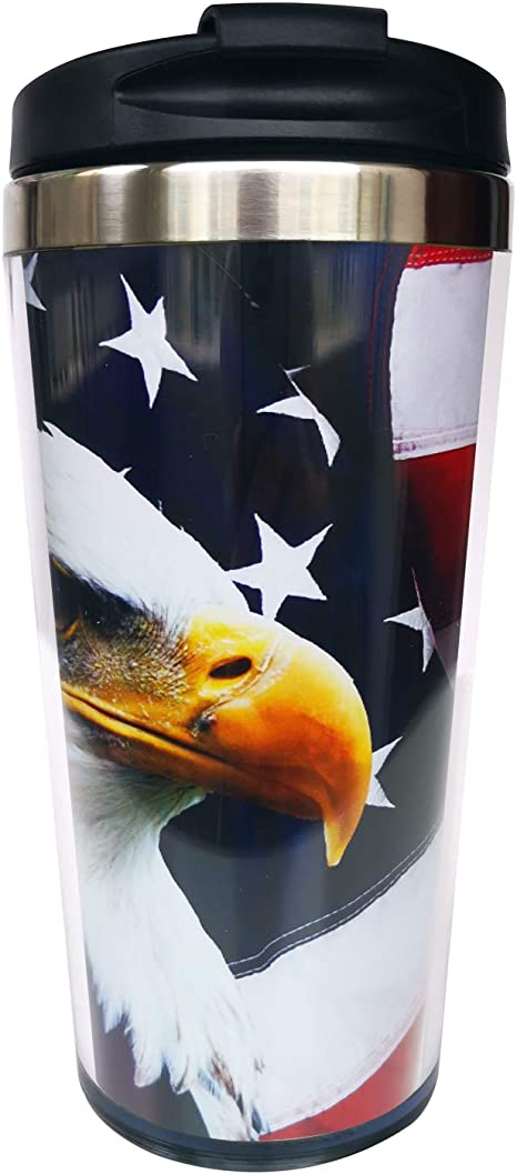 Amazon Com Hasdon Hill North American Bald Eagle On American Flag Travel Mugs With Wrap And Black Lid Stainless Steel Coffee Mug For Women Men Birthday Friends Gifts 12 Oz Kitchen Dining