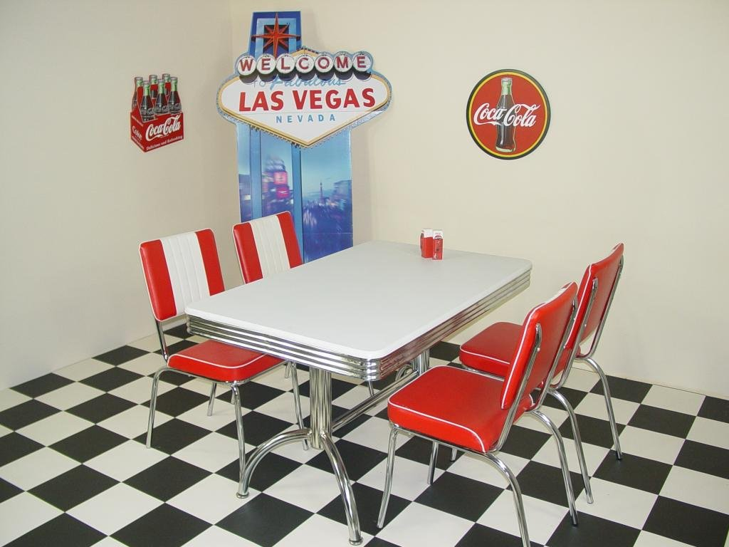 American 50s Diner Furniture Budget Retro Style Booth Table and 4 ...