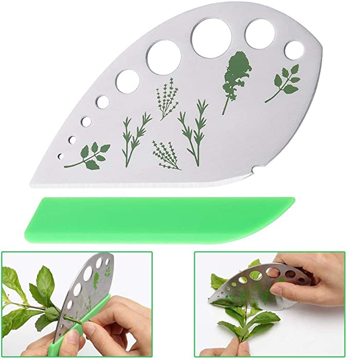Emoly Leaf Herb Stripper 9 Holes, Stainless Steel Kitchen Herb Stripper Tool, 2 in 1 with Protective Holder for Kale, Chard, Collard Greens, Thyme, Basil, Rosemary