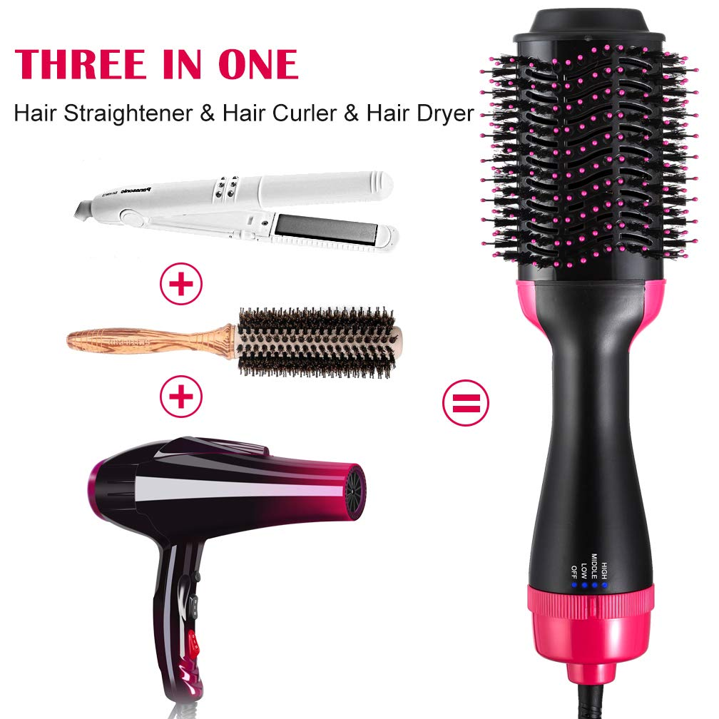 One Step Hair Dryer Volumizer, Hot Air Brush,3-IN-1 Negative Ions Hair Dryer Hair Straightener Curly Hair Comb for All Hair Types Black